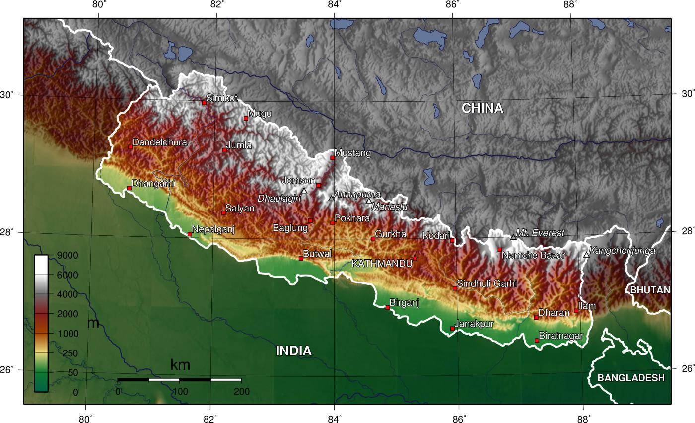 satellitt kart Satellitt kart over nepal   Kart over satellitt nepal (Sør Asia  satellitt kart
