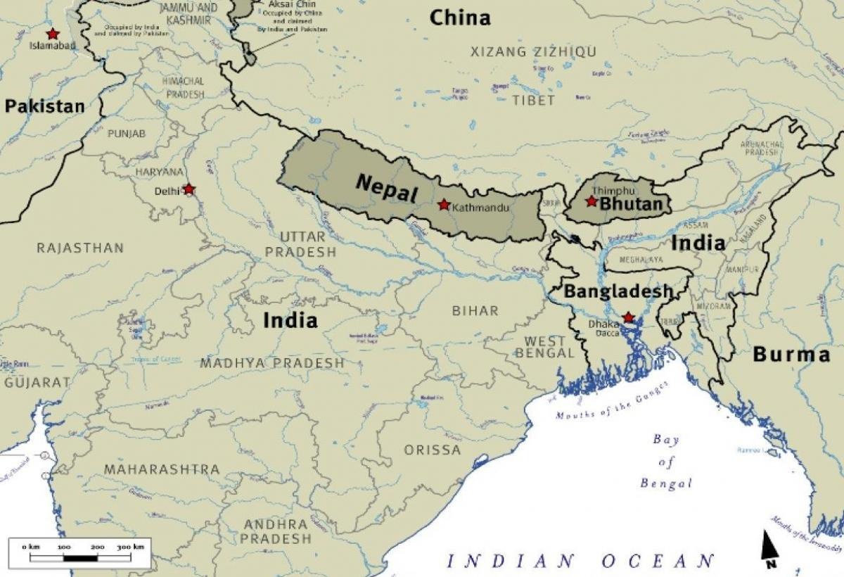 kart over tibet Nepal tibet kart   Kart over bhutan nepal og tibet (Sør Asia   Asia) kart over tibet